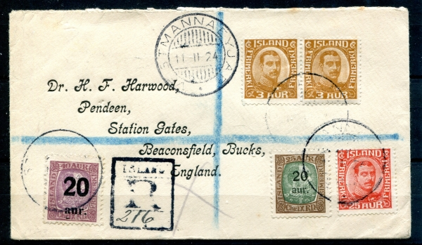 1924 | Reg. Cover Mix fr. Chr.IX. and Chr.X. - VESTMANNAEYJAR - SUPER NICE image