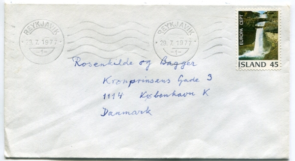 1977 | F559 Single Franking 45 kr. Europa Cept to Denmark image